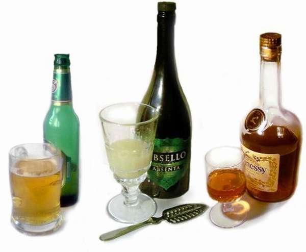 Пиво, абсент и виски