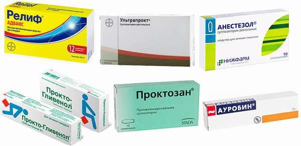Релиф Адванс, Анестезол, Прокто-Гливенол, Ультрапрокт, Ауробин, Проктозан